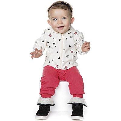 Conjunto Bebê Menina Inverno Moletom Longo Calça e Casaco