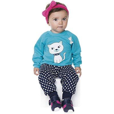 Conjunto Bebê Menina Inverno Moletom Calça e Casaco Raglan