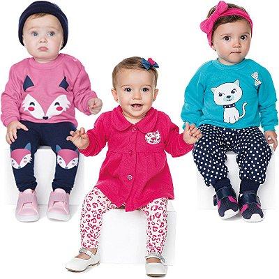 Roupas de Bebê Menina Kit 3 Conjuntos Longo Inverno Fox