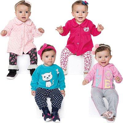 Roupas de Bebê Menina Kit 4 Conjuntos Longo Inverno Love Cat