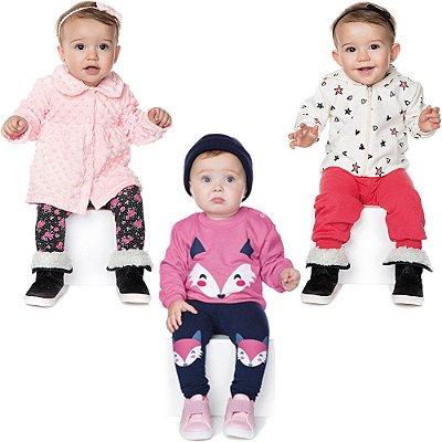 Roupas de Bebê Menina Kit 3 Conjuntos Longo Inverno Batinha