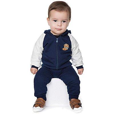 Conjunto Bebê Menino Moletom Calça e Casaco Manga Raglan