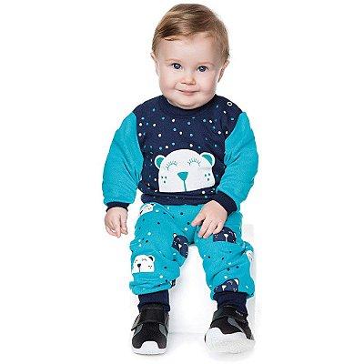 Conjunto Bebê Menino Inverno Moletom Longo Calça e Casaco
