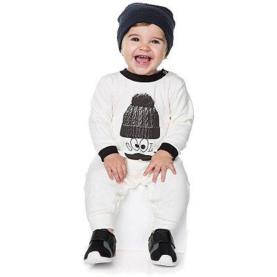 Roupa Bebê Menino Macaquinho Básico Longo Inverno Suedine