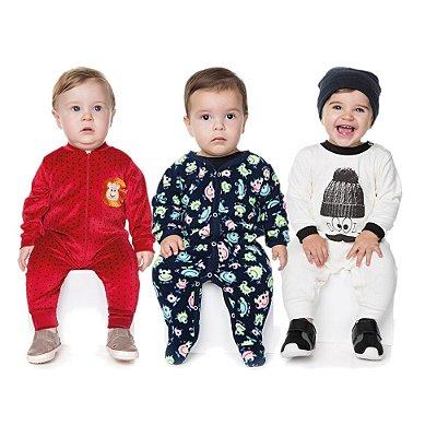 Roupas de Bebê Menino Kit 3 Macaquinhos Longos de Inverno