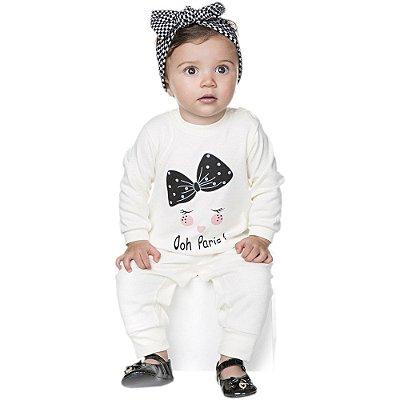 Roupa Bebê Menina Macaquinho Longo de Suedine Botão no Ombro