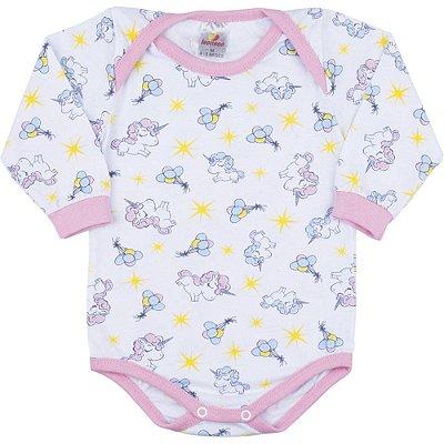 Roupa Bebê Menina Body Longo de Meia Malha Inverno Rotativo