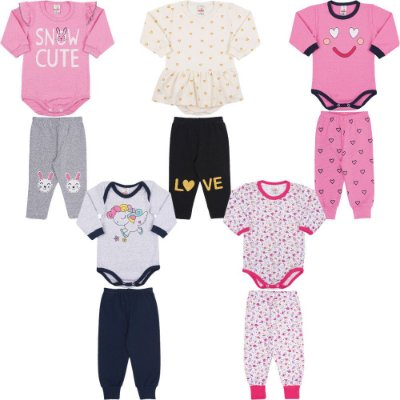 Roupas de Bebê Menina Kit 5 Conjuntos Body e Calça Inverno