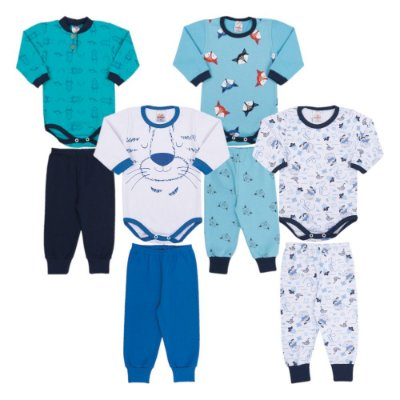 Roupas de Bebê Menino Kit 4 Conjuntos Body e Calça Inverno