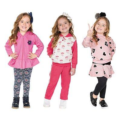 Roupa Infantil Menina Kit 3 Conjuntos Calça e Casaco Isensee