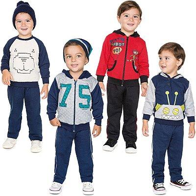 Roupa Infantil Menino Kit 4 Conjuntos Calça e Casaco Inverno