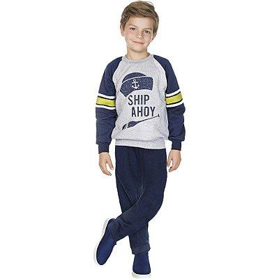 Roupa Infantil Menino Conjunto Moletom Calça e Casaco Raglan