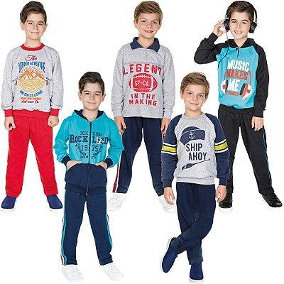 Roupa Infantil Menino Kit 5 Conjuntos de Moletom Inverno