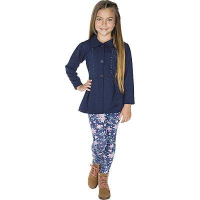 Roupa Infantil Menina Conjunto Calça e Casaco Aberto Botões