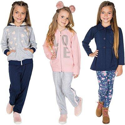 Roupa Infantil Menina Kit 3 Conjuntos de Moletom Inverno