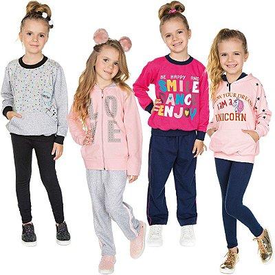Roupa Infantil Menina Kit 4 Conjuntos Longos Calça e Casaco