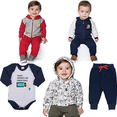 Roupa Bebê Menino Kit 2 Conjuntos 1 Jaqueta 1 Body e 1 Calça