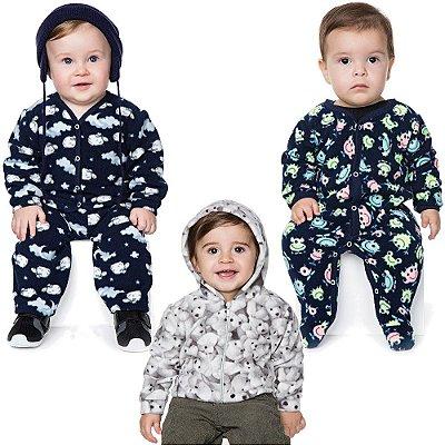Roupas de Bebê Menino Kit Conjunto Jaqueta e Macaquinho