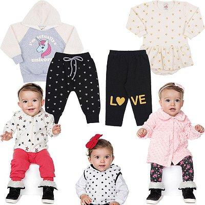 Roupa Bebê Menina Inverno Kit 9 Peças Conjunto Casaco Calça