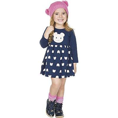 Roupa Infantil Menina Vestido de Cotton Estampa e Bordado