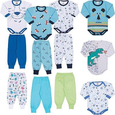 Roupas Bebê Menino Kit 12 Peças Body Calça Longo de Inverno