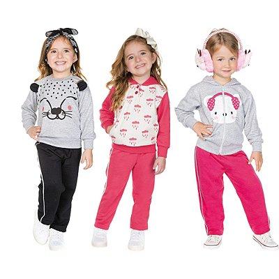 Roupa Infantil Menina Kit 3 Conjuntos Calça e Casaco Moletom