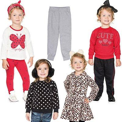 Roupa Infantil Menina Kit 7 Peças Conjuntos Casacos e Calças