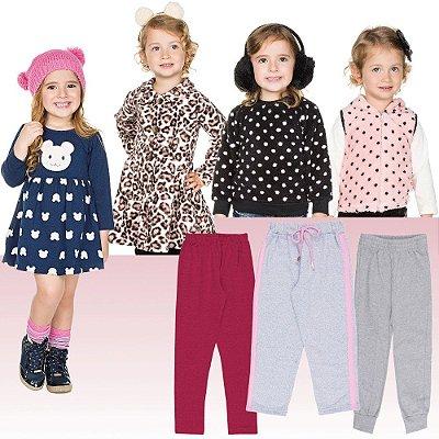 Roupa Infantil Menina Kit 7 Peças Casacos Calças e Vestido