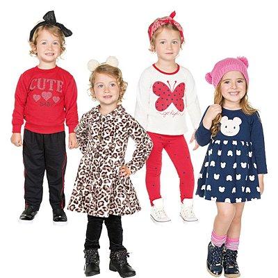 Roupa Infantil Menina Kit 2 Conjuntos 1 Sobretudo 1 Vestido
