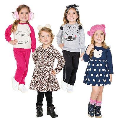 Roupa Infantil Menina Kit 6 Peças Conjunto Sobretudo Vestido