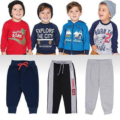 Roupa Infantil Menino Kit 7 Peças Calças Camisetas e Casacos