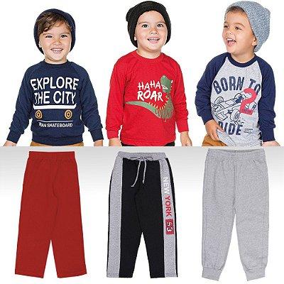 Roupa Infantil Menino Kit 6 Peças Calças Camisetas e Blusão