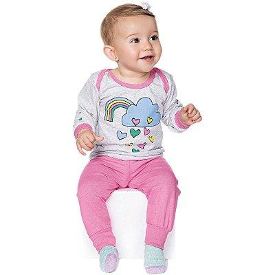 Pijama Bebê Menina Meia Malha Longo Gola Americana