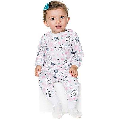 Pijama Bebê Menina Meia Malha Longo Inverno Estampa Rotativa