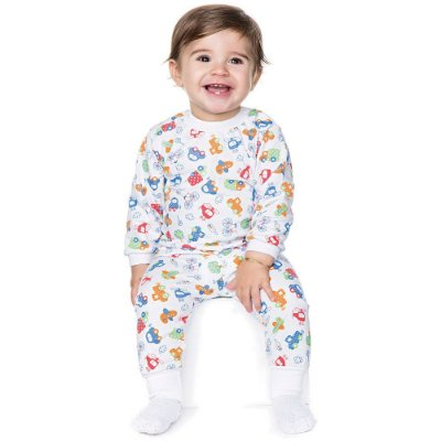 Pijama Bebê Menino Meia Malha Longo Inverno Estampa Rotativa