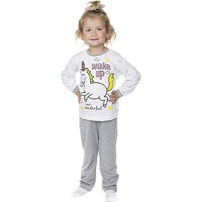 Pijama Infantil Menina Meia Malha Longo de Inverno Wake Up
