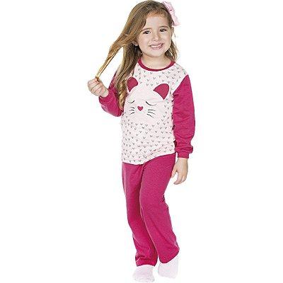 Pijama Infantil Menina Meia Malha Longo de Inverno Love Cat