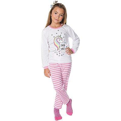 Pijama Infantil Menina Meia Malha Longo Inverno Unicórnio