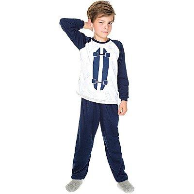 Pijama Infantil Menino Meia Malha Longo Inverno Skate