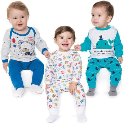 Kit 3 Pijamas Bebê Menino Meia Malha Longo Inverno Isensee