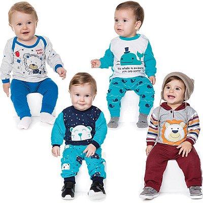 Roupa bebê Menino Kit 2 Conjuntos e 2 Pijamas Longos Inverno