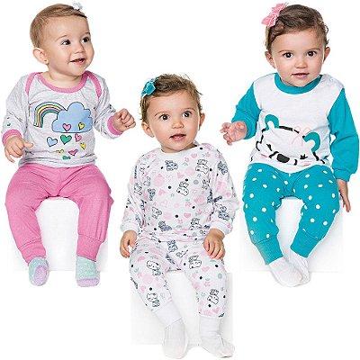 Kit 3 Pijamas Bebê Menina Meia Malha Longo Inverno Isensee