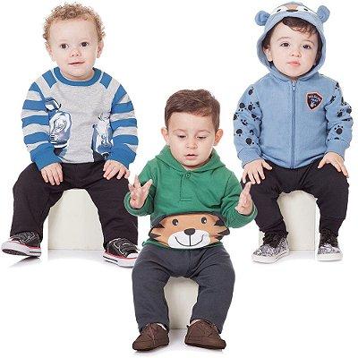Roupa Bebê Menino Kit 3 Conjuntos Moletom Inverno Abrange