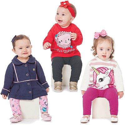 Roupa Bebê Menina Kit 3 Conjuntos Longos de Inverno Abrange