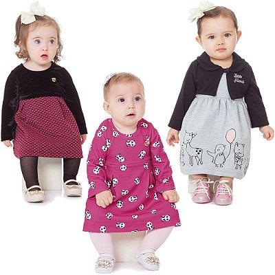 Roupa Bebê Menina Kit 3 Vestidos Maga Longa Inverno Abrange