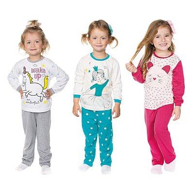 Pijama Infantil Menina Kit 3 Pijamas Longo Inverno Isensee