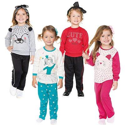 Roupa Infantil Menina Kit 2 Conjuntos e 2 Pijamas Inverno