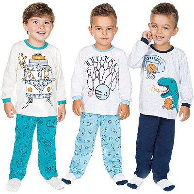 Pijama Infantil Menino Kit 3 Pijamas Longos Inverno Isensee