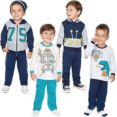 Roupa Infantil Menino Kit 2 Conjuntos e 2 Pijamas Inverno