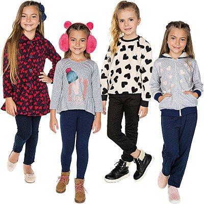 Roupa Infantil Menina Kit 6 Peças Conjuntos Sobretudo Blusão